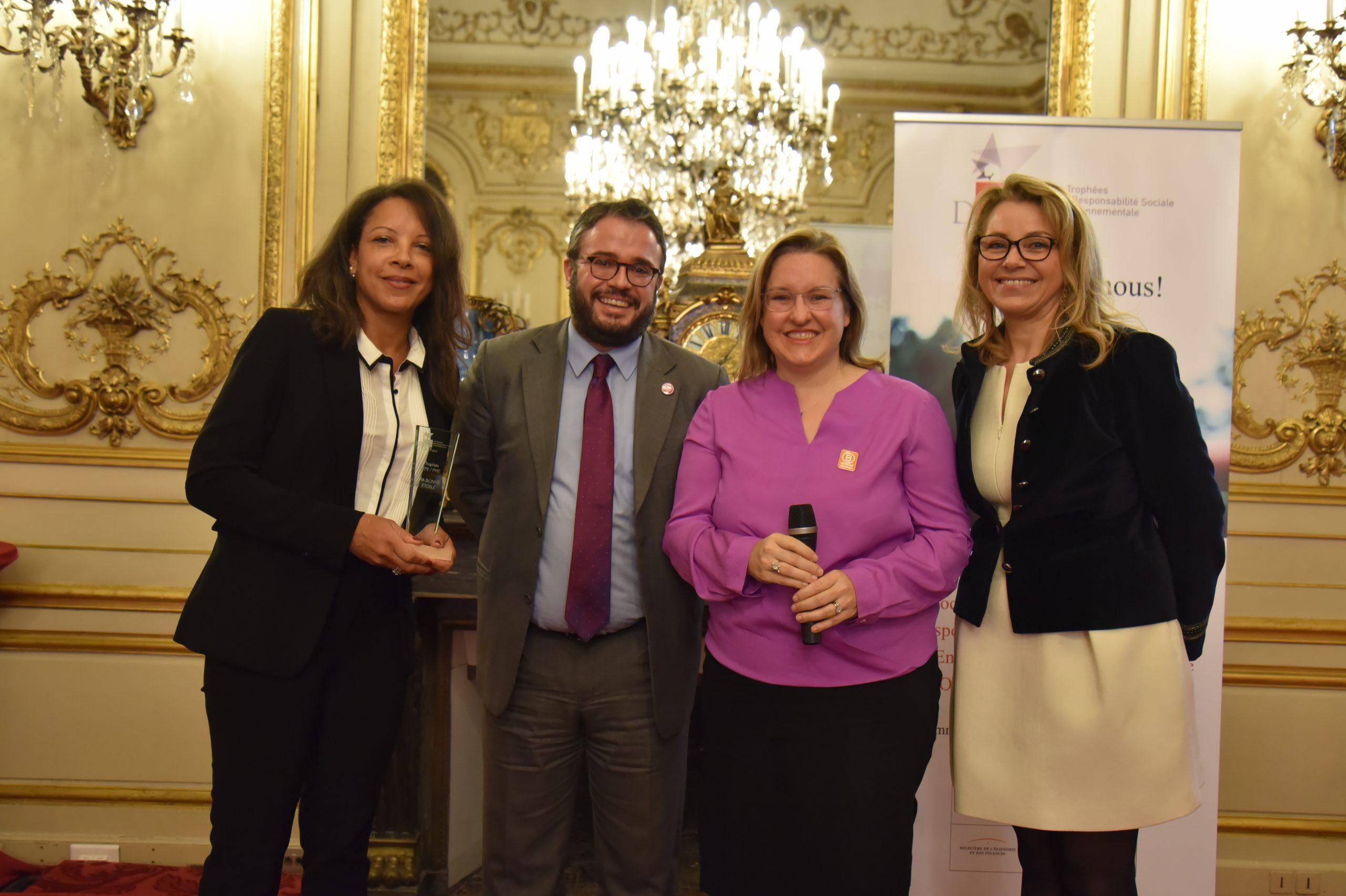 Trophée Défis RSE 2019  TPE/PME : Remettant : Astrid Chenard, AGEFOS PME – Lauréat : MA BONNE ETOILE, Elizabeth et Nicolas Soubelet